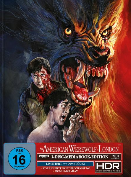 AN AMERICAN WEREWOLF IN LONDON 3-Disc-Mediabook (UHD + 2x Blu-ray) (TIMO-WUERZ-Artwork) - 999 Stk.